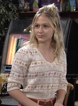 Faith's pointelle short sleeve sweater on The Young and the Restless