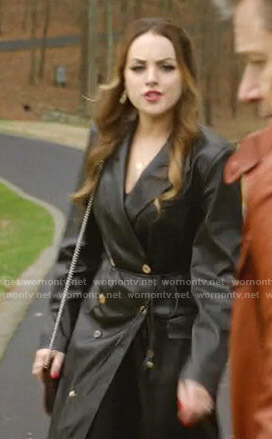 Fallon's black double breasted leather coat on Dynasty