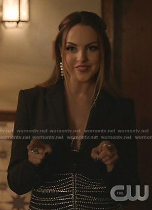 Fallon's black embellished cropped jacket on Dynasty
