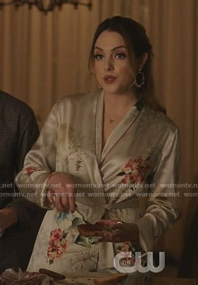 Fallon's floral wrap pajamas on Dynasty