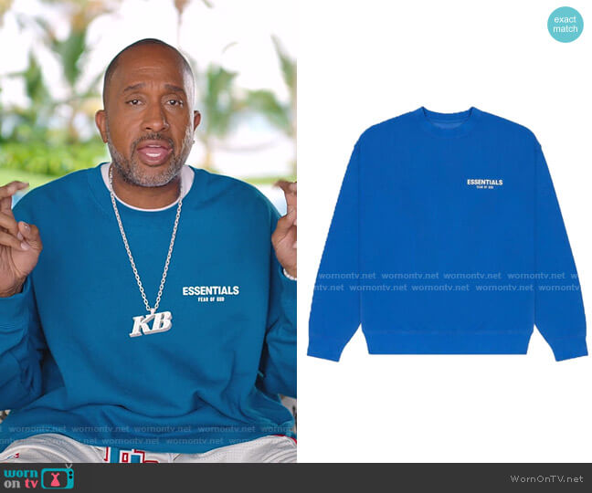 Essentials Sweatshirt by Fear of God worn by Kenya Barris  on BlackAF