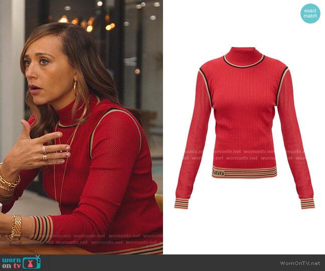 Mesh-sleeve Logo-Intarsia Silk Sweater by Fendi worn by Joya Barris (Rashida Jones) on BlackAF