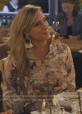 Sonja's floral tie ruffle dress on The Real Housewives of New York City