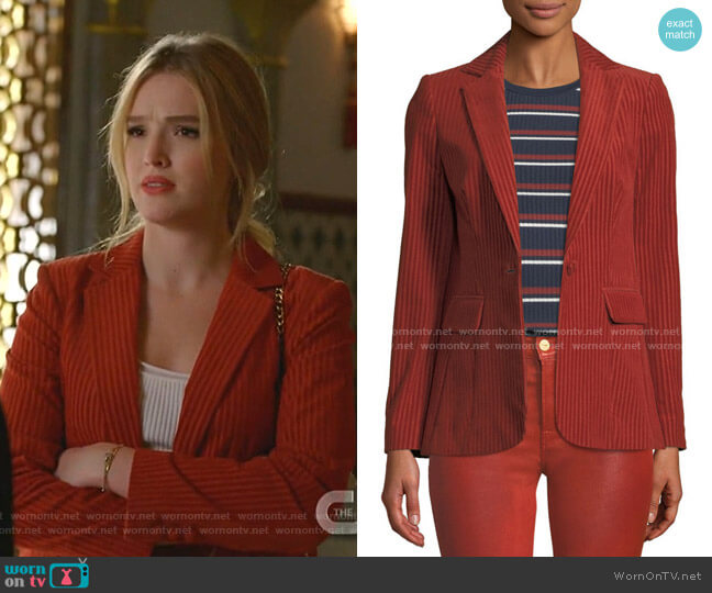 Fine Variegated One-Button Blazer Jacket by Frame worn by Kirby Anders (Maddison Brown) on Dynasty