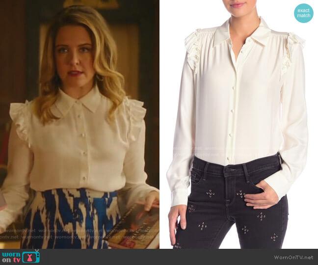 Ruffle Silk Long Sleeve Blouse by Frame worn by Amanda (Helene Yorke) on Katy Keene