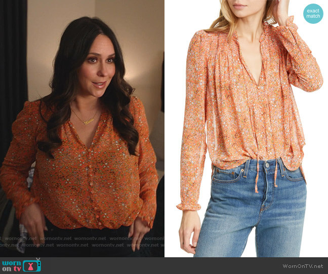 Lela Floral Smocked Ruffle Blouse by Free People worn by Maddie Kendall (Jennifer Love Hewitt) on 9-1-1