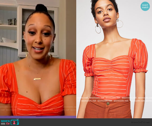 Rose Garden Top by Free People worn by Tamera Mowry  on The Real