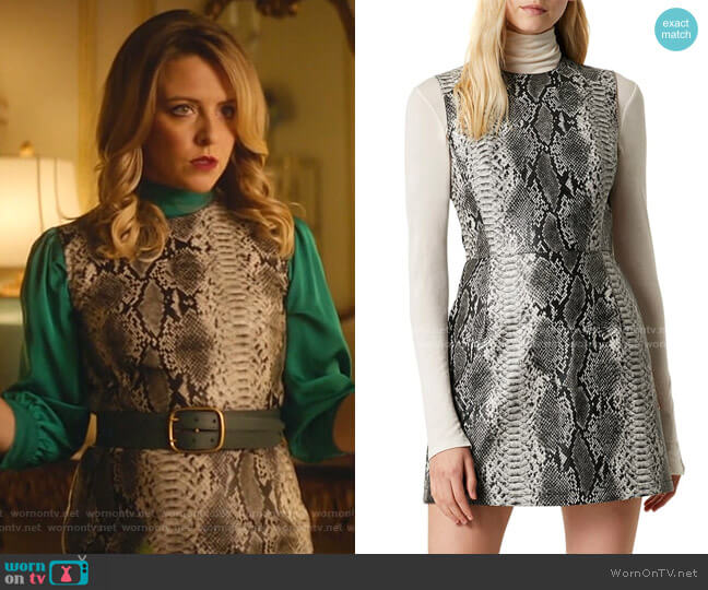 Snake Print Sleeveless Minidres by French Connection worn by Amanda (Helene Yorke) on Katy Keene