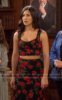 Gabi's black floral cropped top and skirt on Days of our Lives