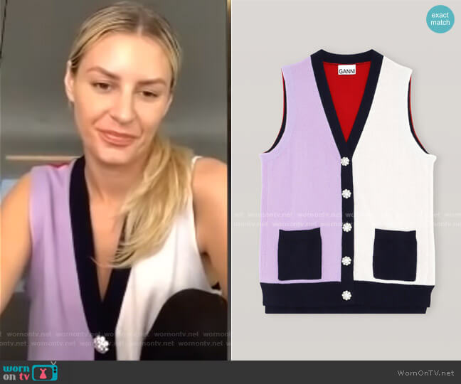 Cashmere Cardigan Vest by Ganni worn by Morgan Stewart  on E! News