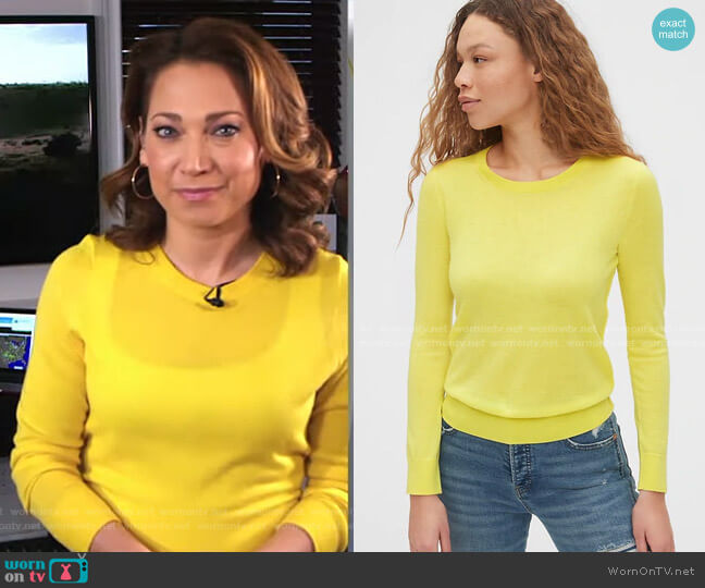 Crewneck Sweater in Merino Wool by Gap worn by Ginger Zee  on Good Morning America