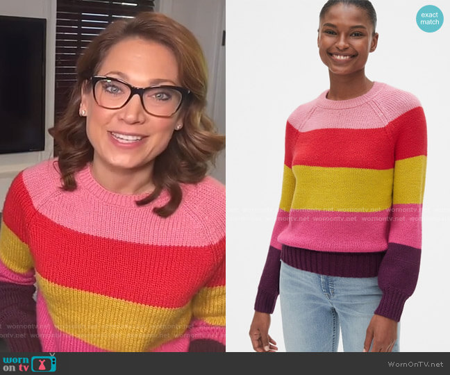 Multicolor Crewneck Sweater by Gap worn by Ginger Zee  on Good Morning America