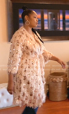Gacelle's sequin long cardigan on The Real Housewives of Beverly Hills