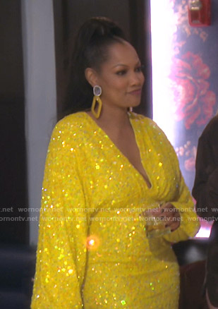Garcelle's yellow sequin dress on The Real Housewives of Beverly Hills