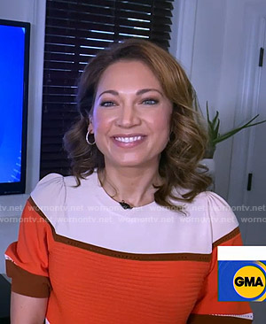 Ginger's colorblock short sleeve sweater on Good Morning America