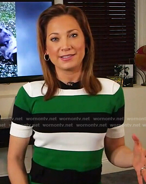 Ginger's green, black and white stripe sweater on Good Morning America