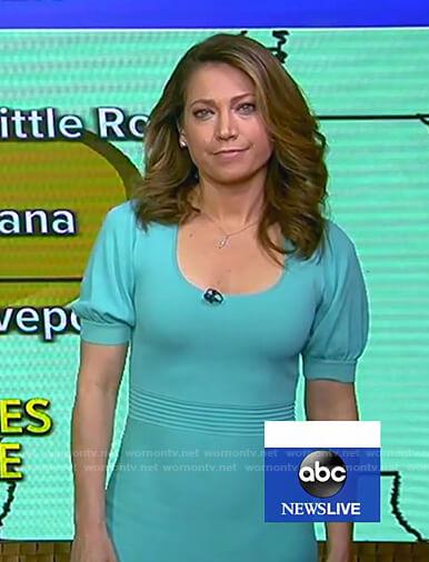 Ginger's mint green knit dress on Good Morning America