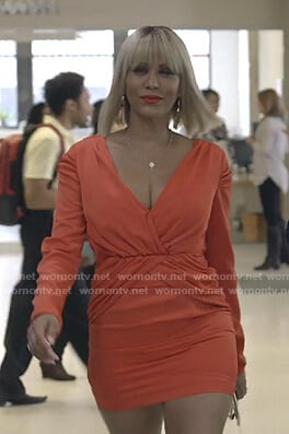 Giselle's orange gathered mini dress on Empire