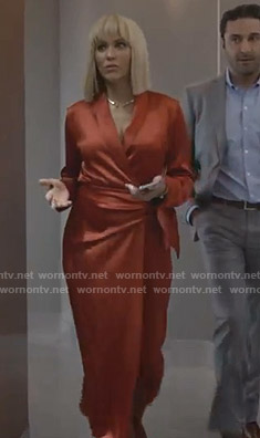 Giselle's red satin wrap dress on Empire