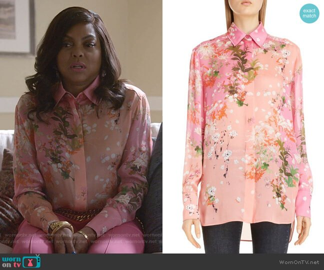 Floral Print Silk Shirt by Givenchy worn by Cookie Lyon (Taraji P. Henson) on Empire