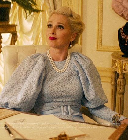 Gloria's blue lace puff sleeve dress on Katy Keene
