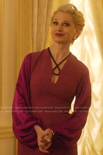 Gloria's magenta balloon sleeve dress on Katy Keene