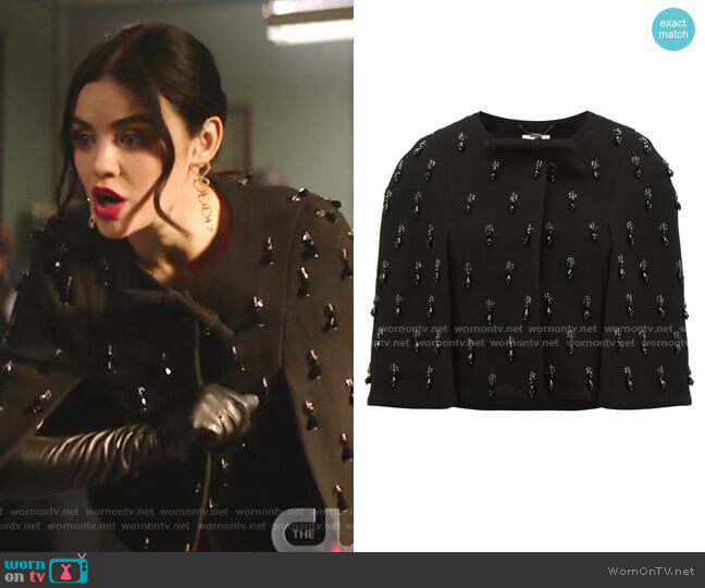 Jules Beaded Drop-Embroidered Bow Wool-Crepe Cape by Goat worn by Katy Keene (Lucy Hale) on Katy Keene