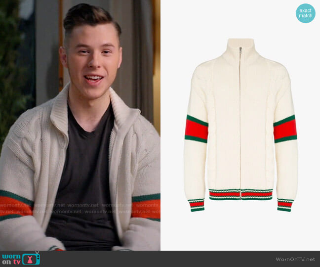 Gucci Striped Cable-Knit Wool Zip-Through Jacket worn by Luke Dunphy (Nolan Gould) on Modern Family