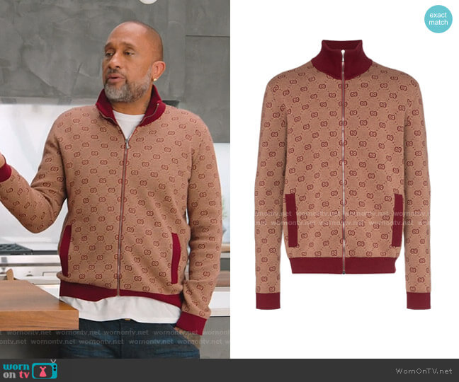 GG Print Knitted Bomber Jacket by Gucci worn by Kenya Barris  on BlackAF