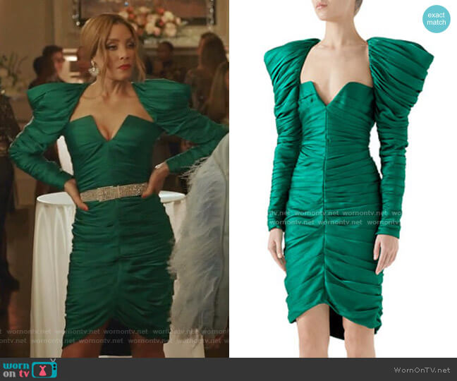 Long-Sleeve Gathered Hammered Matte Satin Cocktail Dress by Gucci worn by Dominique Deveraux (Michael Michele) on Dynasty