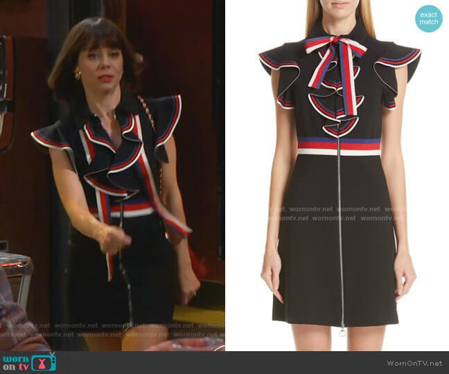 Web Ruffle Stretch Jersey Dress by Gucci worn by Elizabeth (Natasha Leggero) on Broke