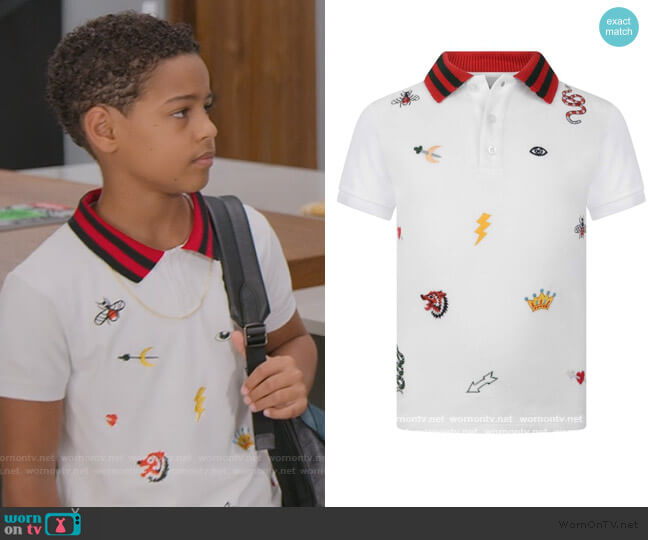 White Embroidered Polo Top by Gucci worn by Pops Barris (Justin Claiborne) on BlackAF