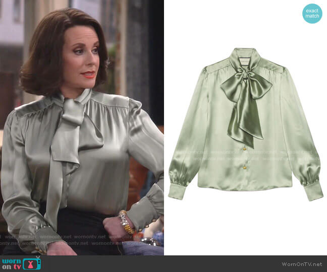 Satin Shirt with Neck Bow by Gucci worn by Karen Walker (Megan Mullally) on Will & Grace
