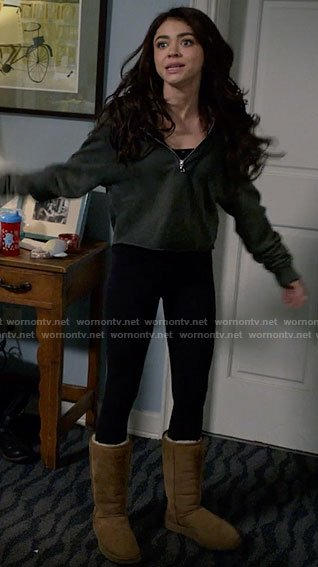 Haley's slipper boots on Modern Family
