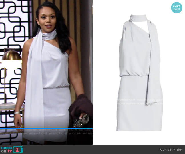 Halston Scarf Neck Dress worn by Amanda Sinclair (Mishael Morgan) on The Young & the Restless