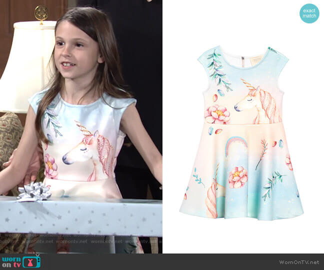 Unicorn Scuba Fit & Flare Dress by Hannah Banana worn by Martie Blair on The Young and the Restless