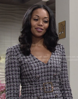 Amanda's belted boucle dress on The Young and The Restless