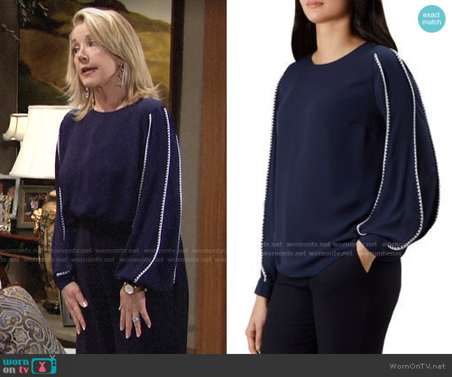 HOBBS London Gina Blouse worn by Nikki Reed Newman (Melody Thomas-Scott) on The Young & the Restless