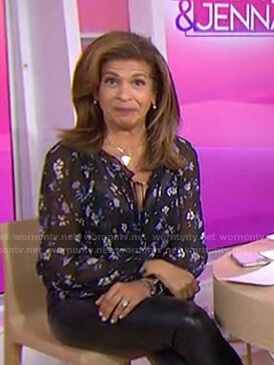 Hoda's black floral blouse on Today
