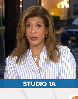 Hoda's white and blue striped blouse on Today