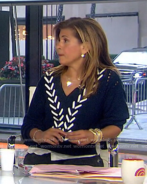 Hoda's navy lace-up v-neck sweater on Today