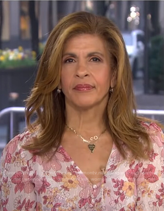 Hoda's pink floral blouse on Today