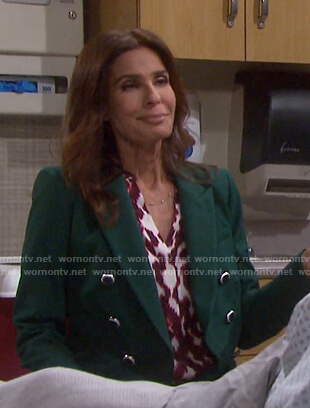 Hope's pink ikat print blouse and green blazer on Days of our Lives