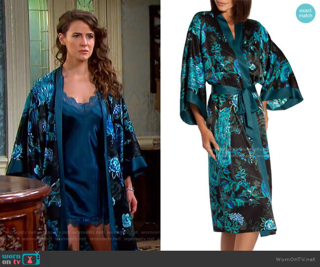 Peacock Satin Robe by In Bloom by Jonquil worn by Sarah Horton (Linsey Godfrey) on Days of our Lives