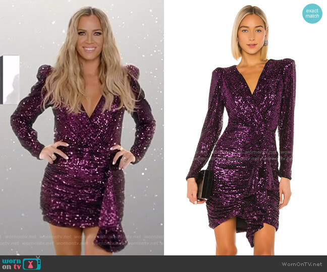 Sequin Ruffle Mini Dress by Iorane worn by Teddi Mellencamp Arroyave  on The Real Housewives of Beverly Hills