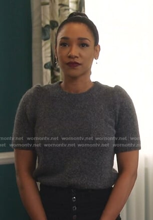 Iris's grey short sleeve sweater on The Flash