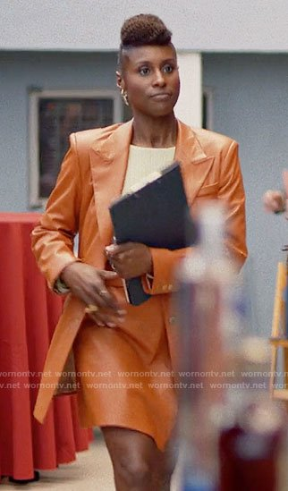 Issa's orange leather blazer and skirt on Insecure