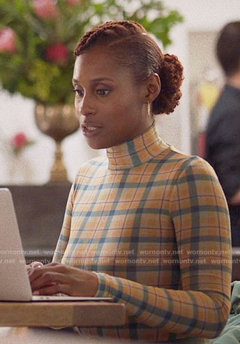 Issa's plaid turtleneck top on Insecure