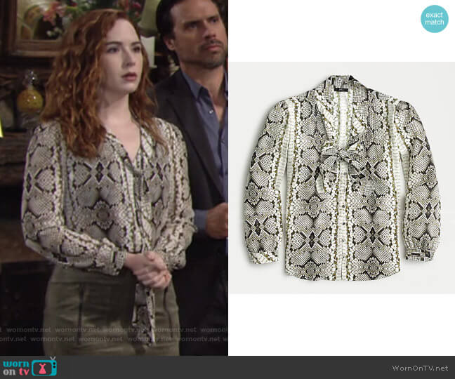 Drapey Tie-Neck Top in Snakeskin Print by J. Crew worn by Mariah Copeland (Camryn Grimes) on The Young & the Restless