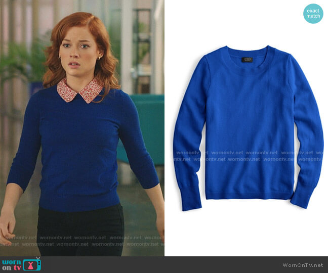 Three-Quarter Sleeve Everyday Cashmere Crewneck Sweater by J. Crew worn by Zoey Clarke (Jane Levy) on Zoeys Extraordinary Playlist